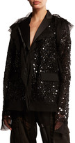 Sacai Sequined Tulle-Trim Blazer