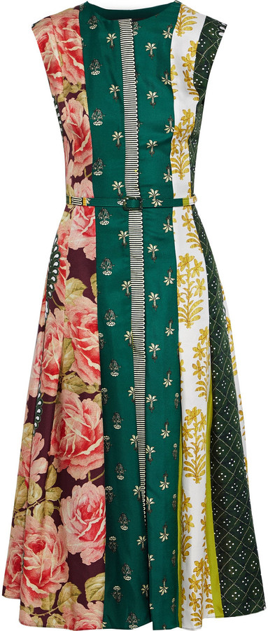 Oscar de la Renta Belted Pleated Printed Silk-twill Midi Dress