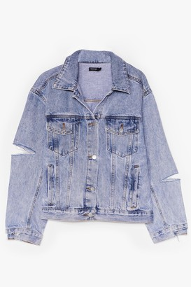 Nasty Gal Womens All in Your Shred Distressed Denim Jacket - Light Blue