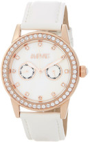 August Steiner Women's Crystal Bezel Leather Watch