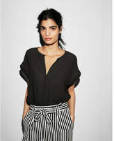 Express notch neck button front rolled sleeve blouse