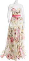 Naeem Khan Printed Silk Gown w/ Tags