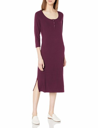 Daily Ritual Amazon Brand Women's Rayon Spandex Wide Rib Scoop Neck Henley Dress