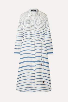 Theory Striped Silk-satin Twill Midi Dress - Blue