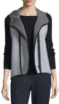 Elie Tahari Margie Hooded Knit Vest, Light/Medium Gray
