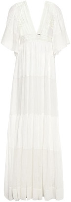 Alberta Ferretti Tiered Paneled Linen-crepe De Chine And Gauze Gown