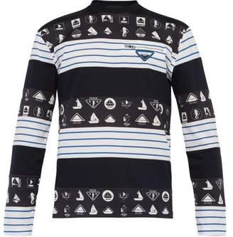 Prada Nautical-print Long-sleeved Cotton T-shirt - Mens - Navy