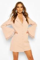 boohoo Occasion Lace Detail Button Blazer Dress