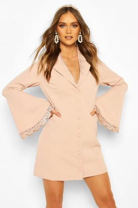 boohoo Occasion Lace Detail Button Blazer Dress