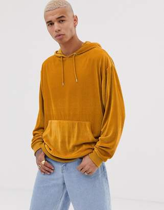 Asos Design DESIGN oversized hoodie in cord in yellow