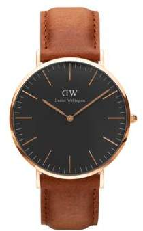 Daniel Wellington Classic Black Durham Rose Gold and Leather Strap Watch, 40mm