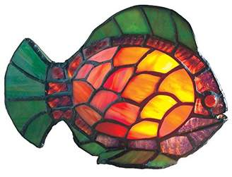 Loxton High Stained Glass Fish Table Lamp, Orange/Green