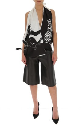 Bottega Veneta Monkey Print Wrapped Top-Shorts Set