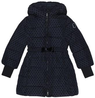 MonnaLisa Velvet flocked puffer coat