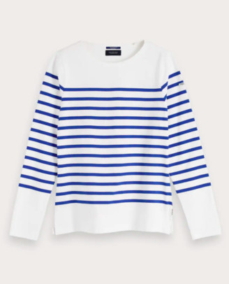 Scotch & Soda Blue & White Classic Breton Stripe T-Shirt - large