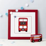 N. Spotty Stripy Personalised Red London Bus Print
