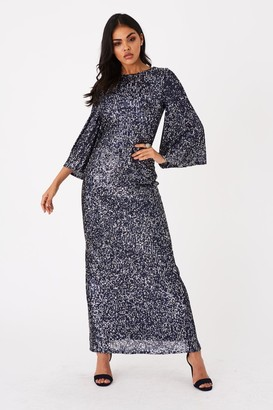 Little Mistress Zela Black Sequin Angel Sleeve Maxi Dress