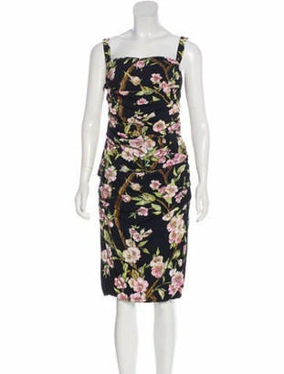 Dolce & Gabbana Floral Midi Dress Black