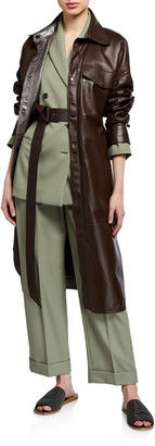 Brunello Cucinelli Leather Belted Button-Front Coat