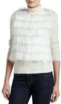 Rabbit & Goat Fur Tiered Vest, Ivory