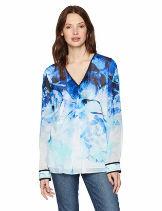 Calvin Klein Women's Long Sleeve Blouse with TIE at Wrist