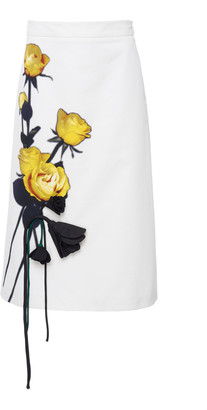 Prada Appliqued Floral-Print Cotton-Crepe Midi Skirt