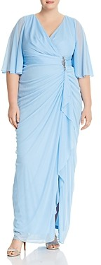 Adrianna Papell Draped Flutter-Sleeve Faux Wrap Gown