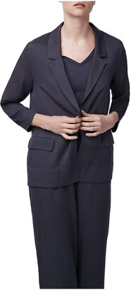 b new york Women's Ruffle Sleeve Crossover Back Blazer