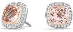 David Yurman Albion Earrings With Morganite, Diamonds And 18K Rose