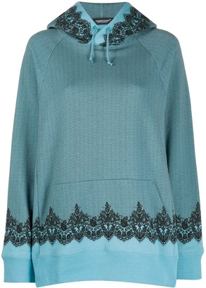 Undercover Lace-Detail Drawstring Hoodie