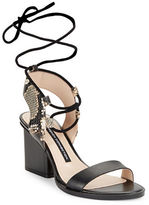 French Connection Jalena Embossed Leather Lace-Up Sandals