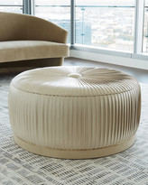 Design Studio Form By Global Views Colette Pleated Leather Ottoman