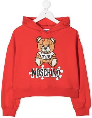 MOSCHINO BAMBINO Puzzle Teddy print hoodie