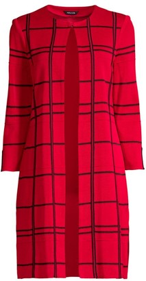 Misook Graphic Plaid Long Knit Topper