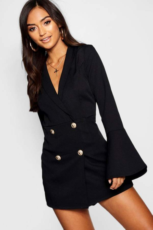 boohoo Petite Tailored Flare Sleeve Playsuit