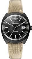Vivienne Westwood Men's Quartz Watch with Black Dial Analogue Display and Black Leather Strap VV136BKBK