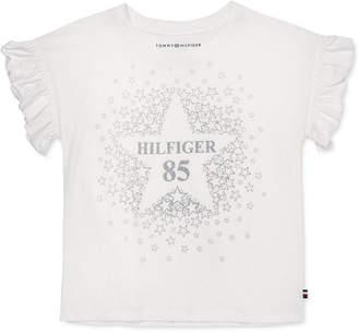 Tommy Hilfiger Little Girls Cotton Flutter-Sleeve T-Shirt