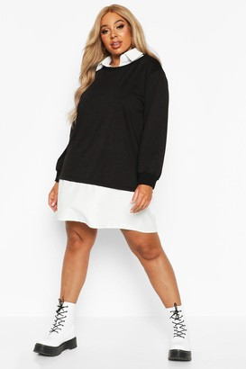 boohoo Plus 2 In 1 Shirt And Sweater Dress