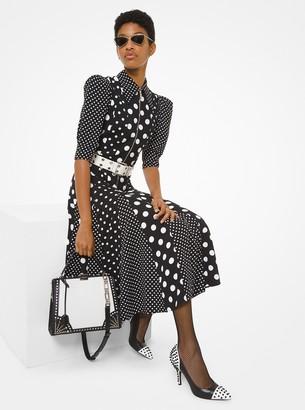 Michael Kors Mixed Dot Crepe Sable Zip-Front Dress