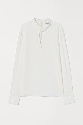H&M Blouse with Stand-up Collar - White