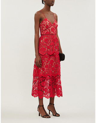 Self-Portrait V-neck floral-lace midi dress