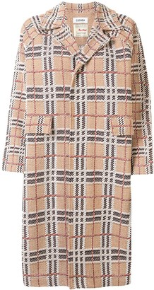 Coohem Button Down Tartan Tweed Coat