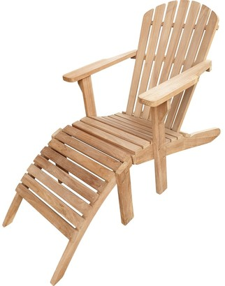 Seven Seas Teak Adirondack Teak Chair with Footstool