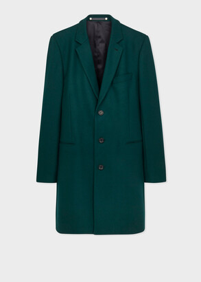 Paul Smith Men's Dark Teal Wool-Blend Epsom Coat