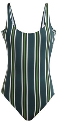 Marios Schwab Gialos Striped Scoop-neck Swimsuit - Green Stripe