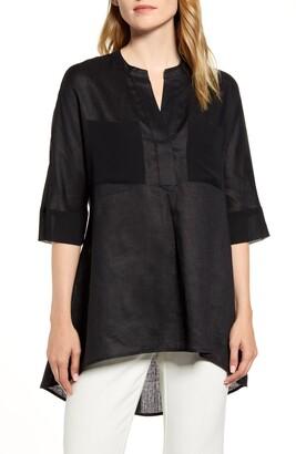 Anne Klein Asymmetrical Hem Linen Tunic Top
