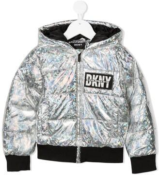 DKNY Metallic-Effect Padded Jacket