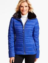 Talbots Short Faux Fur-Collar Puffer Coat