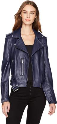 Bagatelle Bagatelle.NYC Women's Washed Leather Biker Jacket