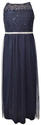 Emerald Sundae Big Girls Social Maxi Dress with Mesh and Lace